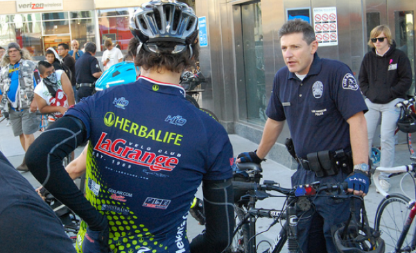 Sgt. David Krumer of the LAPD at a Critical Mass ride in 2010. Image: Damien Newton/Streetsblog