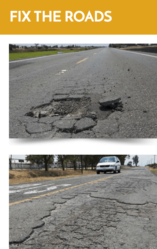 Democrats in the Assembly are trying to keep the focus on the poor repair of the state's roads rather than the need to raise more funds to fix them. Image: ##http://asmdc.org/fixtheroads/##California State Assembly Democrats##