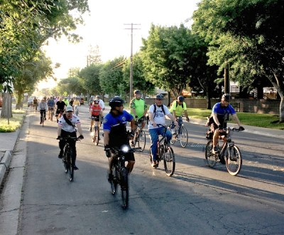Modesto Mayor's Bike Ride checks out Granger Avenue. Photo: Michael Sacuskie