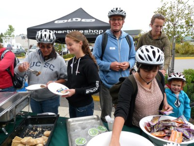 Santa Cruz offers free breakfast for people biking to work tomorrow. Photo by Karen Kefauver/Ecology Action