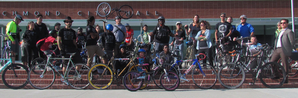 Riders gather at City Hall before the Ride of Silence begins. Photo: Melanie Curry/Streetsblog