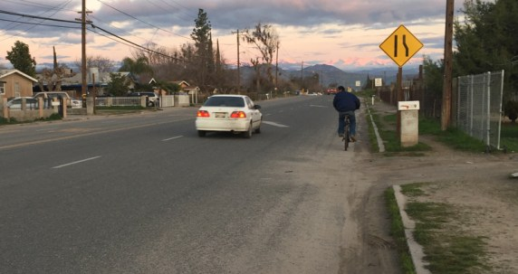 Most of the streets in the Cutler-Orosi Joint Unified School District have no sidewalks. Tulare County applied for ATP funds to fix that along Ave 416. Photo courtesy County of Tulare.