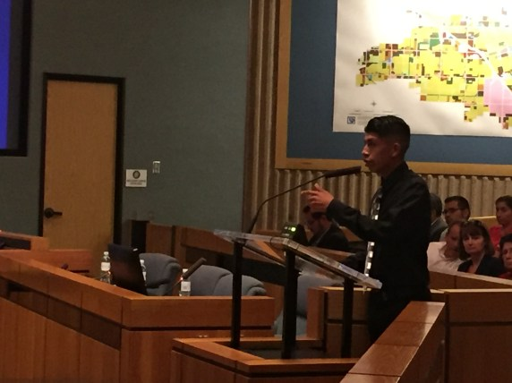 Daniel Hernandez, 17, speaks at the Anaheim City Council meeting during the public comment period.