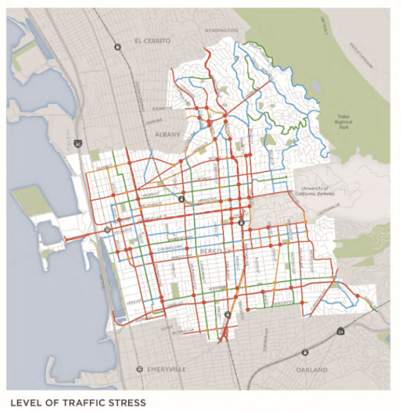 "The City of Berkeley conducted a ""Level of Stress Analysis"" to understand better where people might feel safe riding their bikes in Berkeley. Image: Draft Berkeley Bicycle Plan"