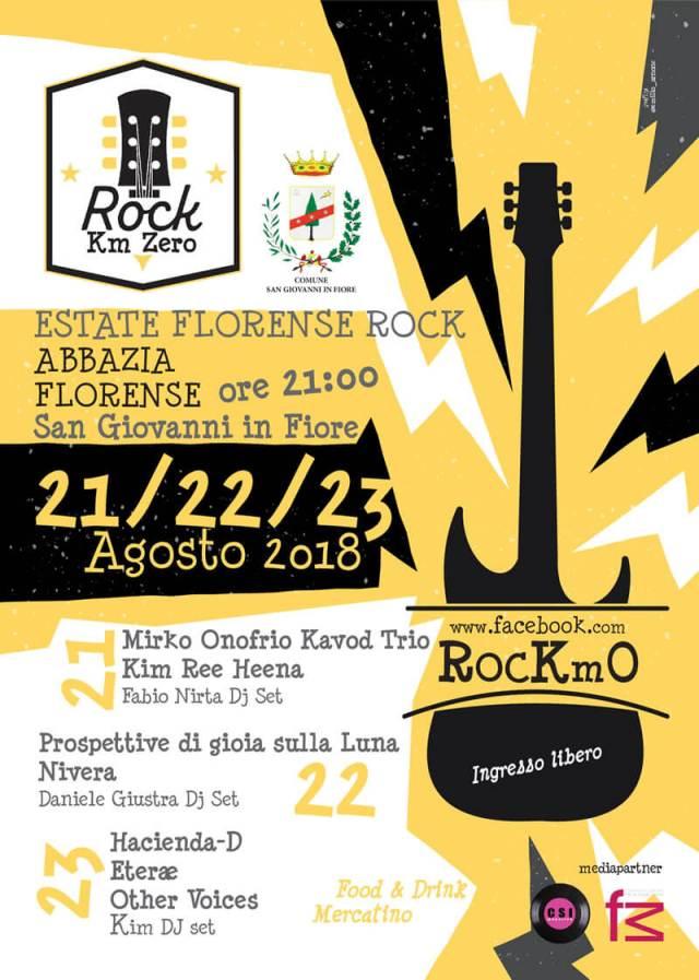 RocKm0 Festival 21-22-23 Agosto 2018 Abbazia Florense di San Giovanni in Fiore locandina