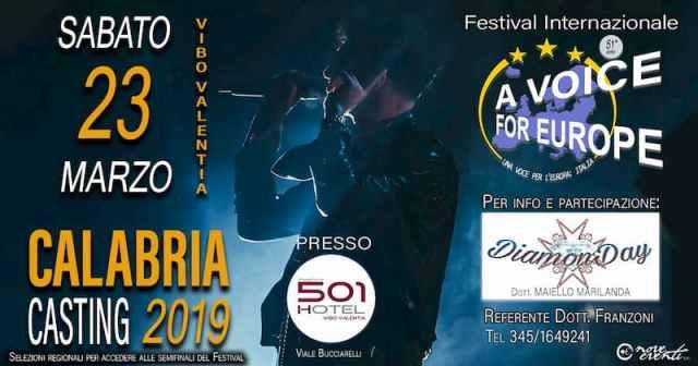 Vibo Valentia casting regionali A Voice for Europe Italia 23 marzo 2019