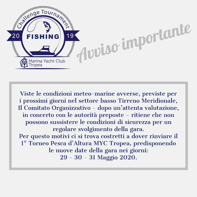 Torneo Pesca d'Altura MYC Tropea 29 30 e 31 maggio 2020 a Tropea locandina