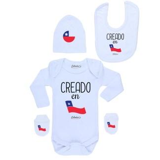 Conjunto Bebé Recién Nacido Body Pilucho Gorro Babero Mitones Creado En Chile
