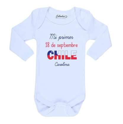 Ropa Bebe Body Calambur 100% algodón Moda Infantil Mi Primer 18 De Septiembre Nombre Personalizado
