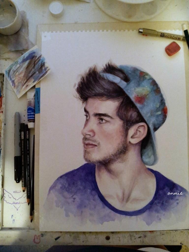joey graceffa || 2013 || watercolor & prisma pencil