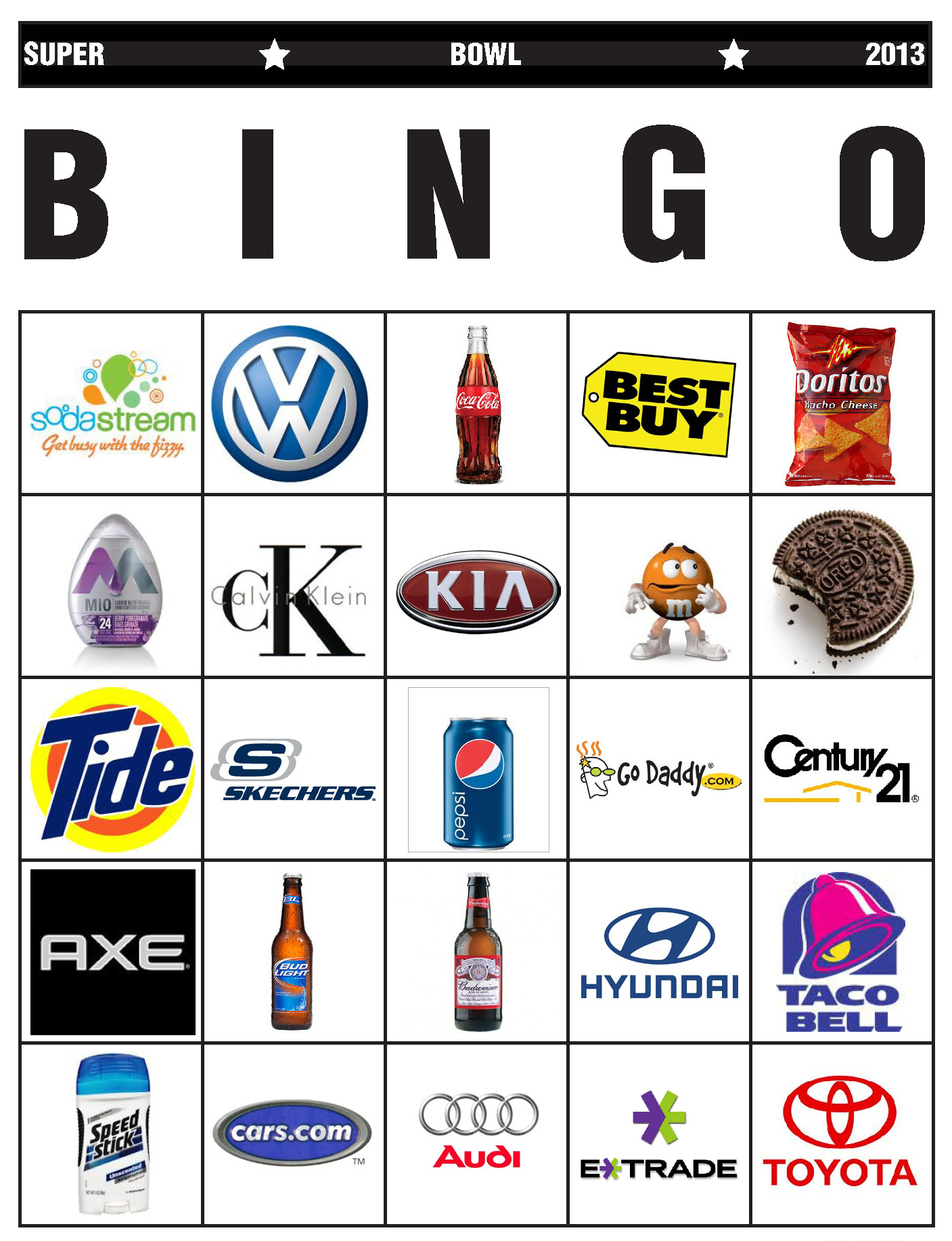 Super Bowl Bingo Edition