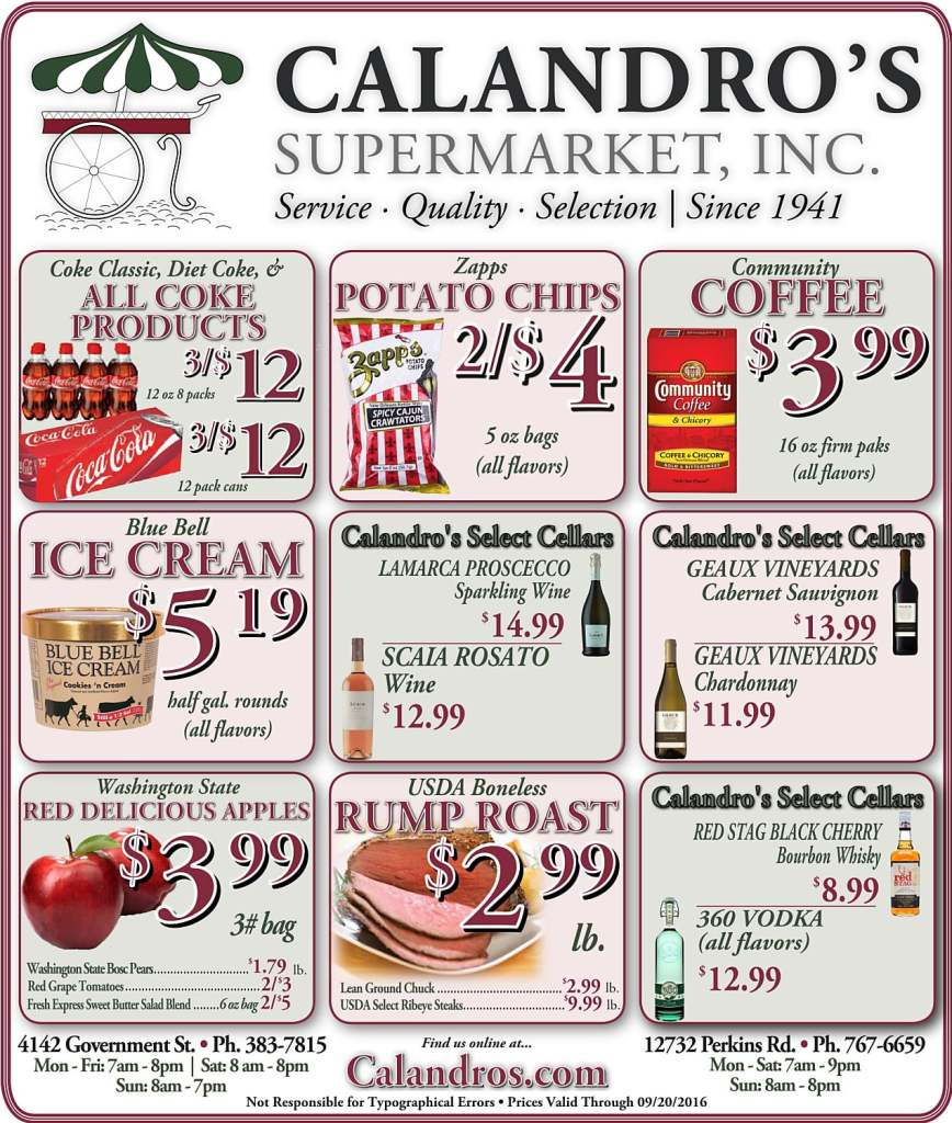 Check out the Weekly Deals @ Calandro's for 9/15/2016