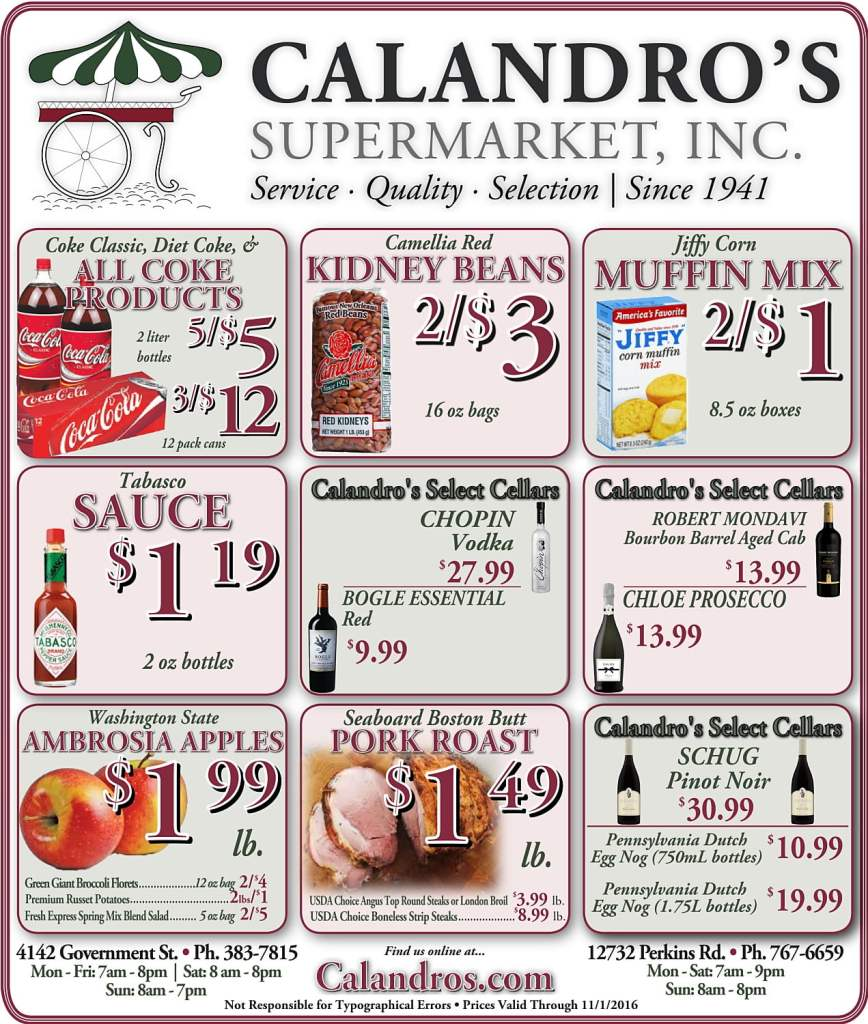 Check out the Weekly Deals @ Calandro's for 10/27/2016