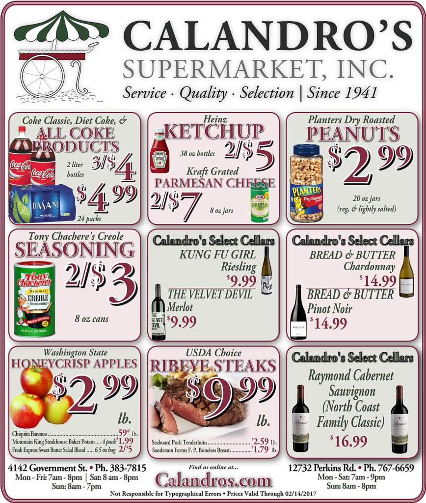 Amazing Weekly Deals @ Calandro's this week (02/09)!