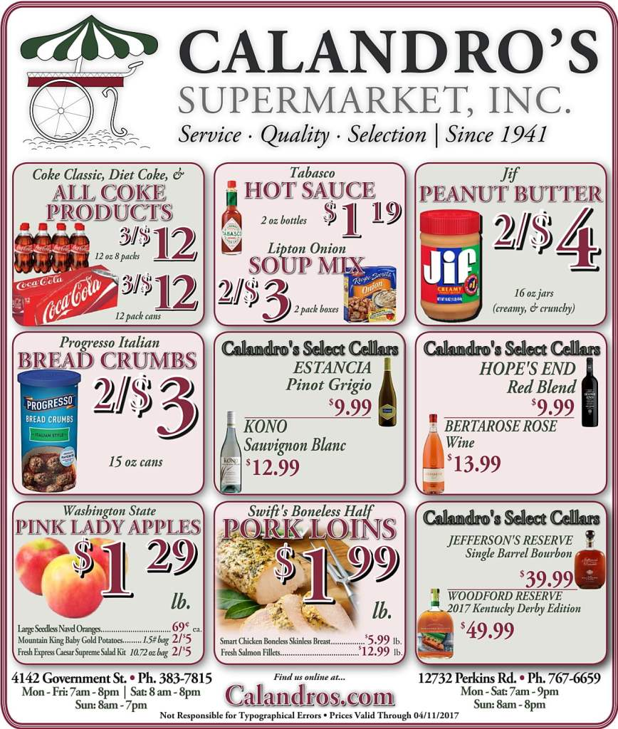 Amazing Weekly Deals @ Calandro's this week (04/06)!