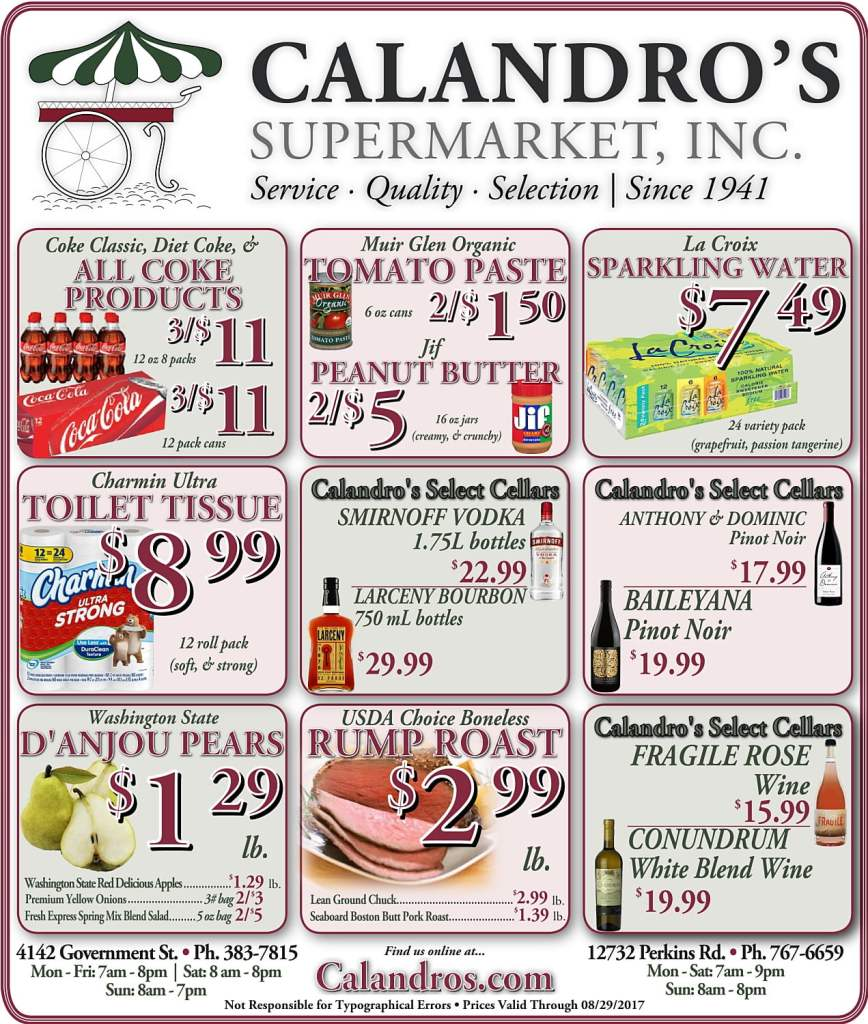 Amazing Weekly Deals @ Calandro's this week (08/24)!