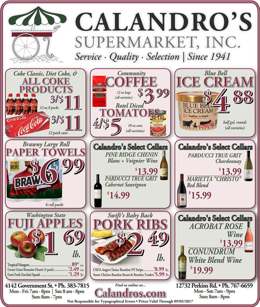Amazing Weekly Deals @ Calandro's this week (08/31)!