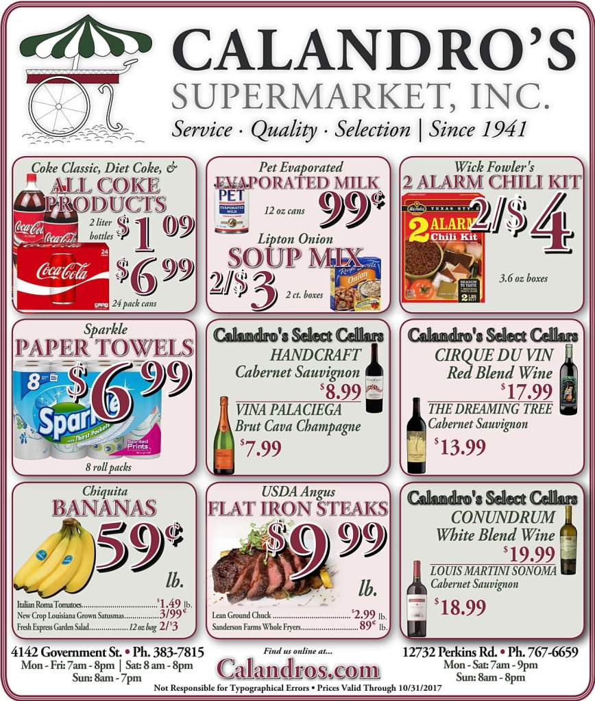 Amazing Weekly Deals @ Calandro's this week (10/26)!
