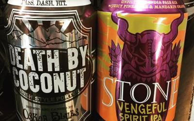 @oskarblues Death by Coconut and @stonebrewing Vengeful Spirit IPA, a tropical, unfiltered IPA with juicy…