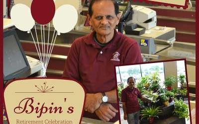 Mr. Bipin, our beloved original cashier and floral guru at Calandro's Perkins is retiring and…
