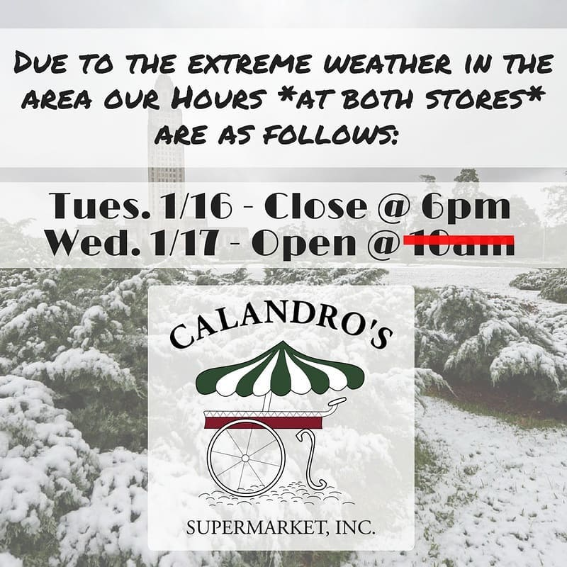 Calandro's Winter Weather & Store Hours Update: Folks - we had hoped to be open…