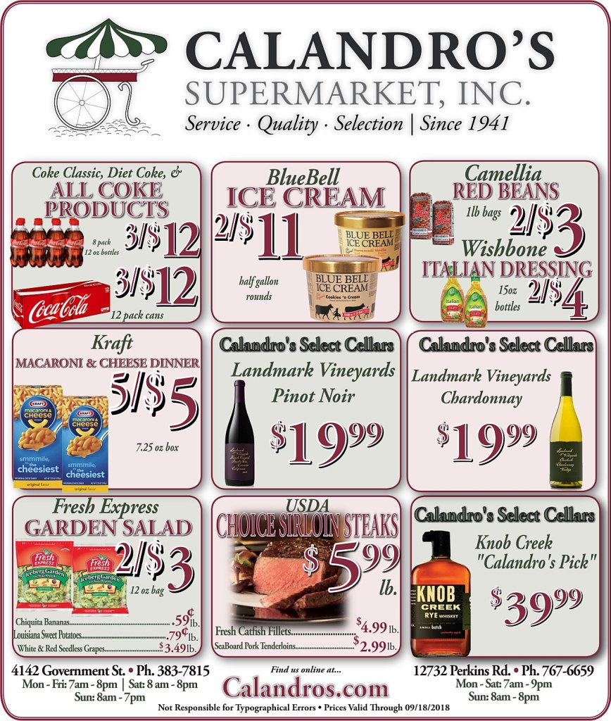 Amazing Weekly Deals @ Calandro's this week (09/13)