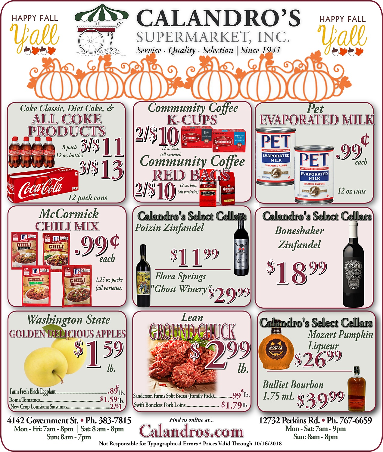 Amazing Weekly Deals @ Calandro's this week (10/11/2018)