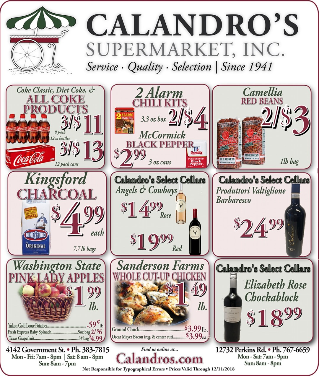 Amazing Weekly Deals @ Calandro's this week (11/29/2018)