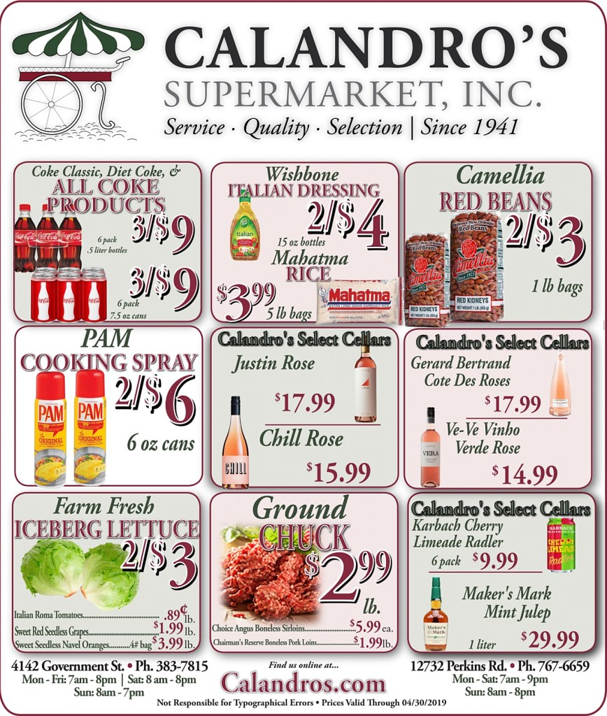 Amazing Weekly Deals @ Calandro's this week (04/25/2019)