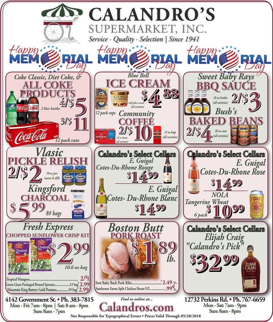 Amazing Weekly Deals @ Calandro's this week (05/23/2019)