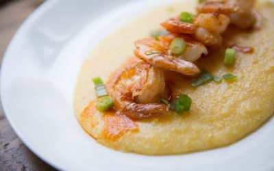 Here is a delectable image of homemade shrimp and grits to ease your hurricane worries….