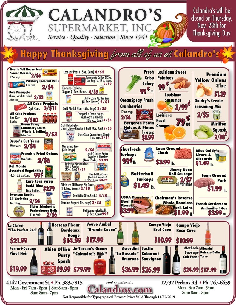 Amazing Weekly Deals @ Calandro's this week (11/14/2019)