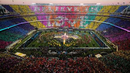 The Cal Band performs at Super Bowl 50 alongsiide Beyonce and Coldplay.