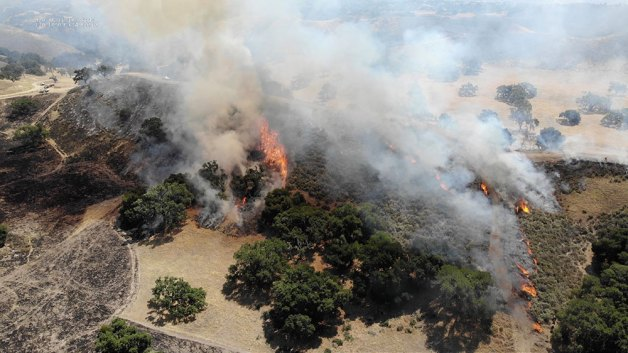 prescribed fire burning in Santa Barbara County