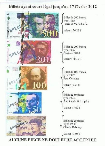 500 Anciens Francs En Euros : anciens, francs, euros, Convertir, Francs, Euros, Dernier, Février