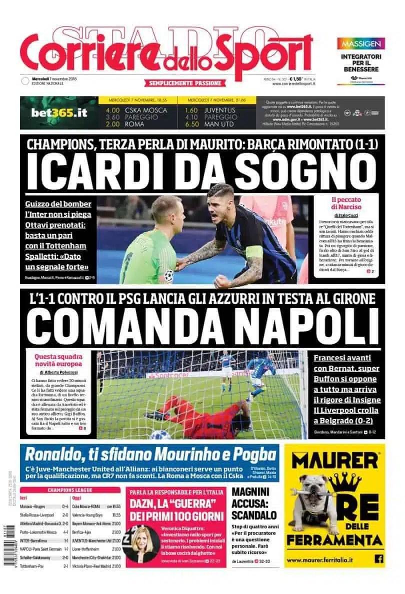 prima pagina corriere dello sport mercoledì 7 novembre 2018