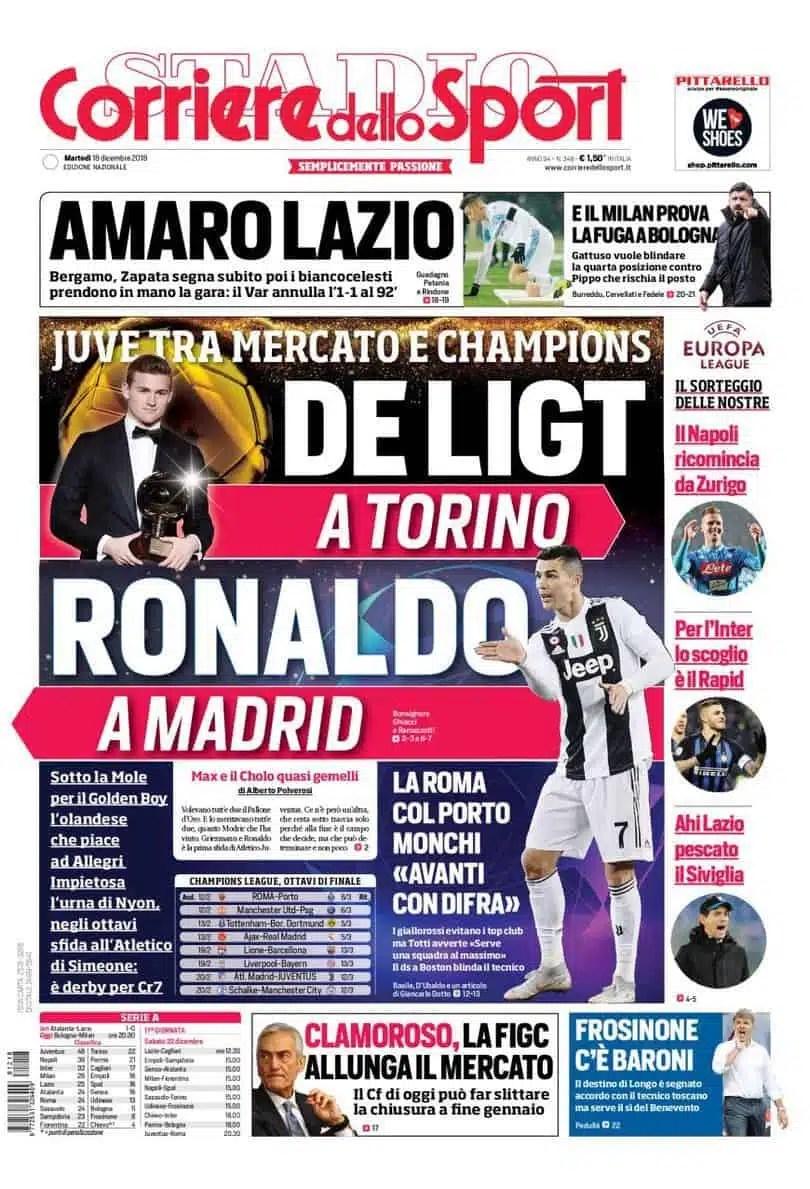 prima pagina corriere dello sport martedì 18 dicembre 2018