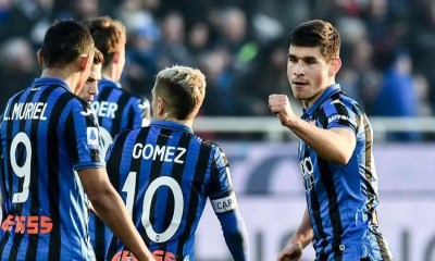 esultanza gol Rusland Malinovskyi Muriel Gomez Atalanta
