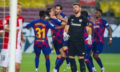 Rakitic Messi Ansu Fati esultanza Barcellona