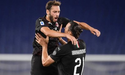 Esultanza Calhanoglu Ibrahimovic Milan