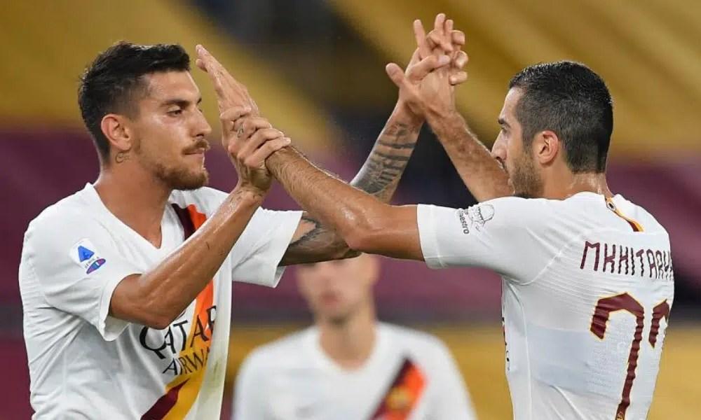 esultanza gol Henrikh Mkhitaryan Pellegrini ROma