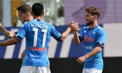 esultanza gol Lozano Mertens Napoli