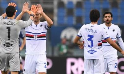 Esultanza giocatori Sampdoria Audero Yoshida