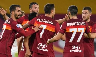 esultanza gol Mkhitaryan Pellegrini Roma