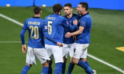 Esultanza Bernardeschi Locatelli Belotti Jorginho Nazionale Italia