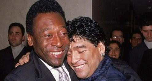 abbraccio Pele Maradona