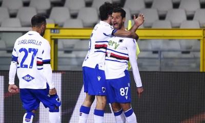 esultanza gol Antonio Candreva Quagliarella Sampdoria