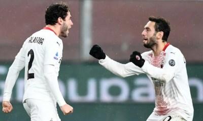 esultanza gol Calabria Calhanoglu Milan