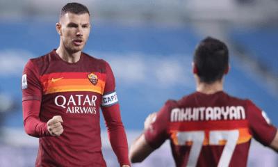 esultanza gol Edin Dzeko Mkhitaryan Roma