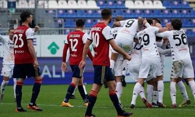 Esultanza Cagliari-Benevento